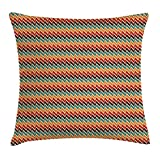 FAFANI Trippy Throw Pillow Cushion Cover, Attractive Zig Zags Bohemian Stylized Striking Abstract Imaginative Sharp, Decorative Square Accent Pillow Case, 18 X 18 Inches, Multicolor