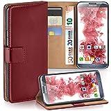 moex Samsung Galaxy Note 2 | Hülle Dunkel-Rot mit Karten-Fach 360° Book Klapp-Hülle Handytasche Kunst-Leder Handyhülle für Samsung Galaxy Note 2 Case Flip Cover Schutzhülle Tasche