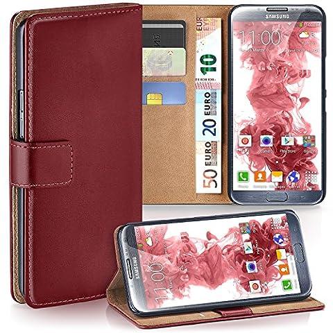 Samsung Galaxy Note 2 Hülle Dunkel-Rot mit Karten-Fach [OneFlow 360° Book Klapp-Hülle] Handytasche Kunst-Leder Handyhülle für Samsung Galaxy Note 2 Case Flip Cover Schutzhülle Tasche