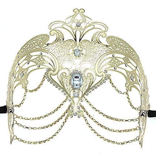 OUREIDOO Venezianische Damen Maske, Maskerade Maske Metal Laser Cut l Venezianischen Karnevalsmaske Maskerade Maske ()