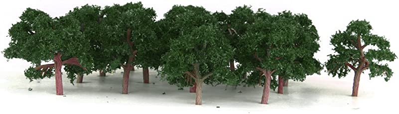 Generic 25 Pcs Scenery Landscape Train Model Trees Scale 1/300 Dark Green