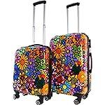 ABS Hartschalen Koffer mit Teleskopgriff und Zahlenschloss Farbe Flowers