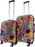 bunte koffer mit 4 rollen