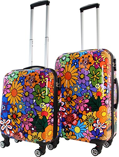 Trolley-Kofferset Ultra-Light mit 4 Rollen, 2tlg. Farbe Flowers