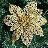 LQZ 10stk Weihnachtsstern Künstlich Christstern Weihnachtsblumen Weihnachtsbaumdeko - Gold