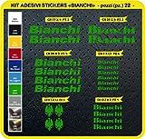 Pimastickerslab Bianchi Aufkleber, für das Fahrrad, Farbe wählbar, 22 Stück, Artikelnummer 0087, Verde Lime cod. 064
