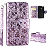 Huawei P8 Lite 2017 Version Wallet Case, Huawei P8 Lite Cover Case, Rosa Schleife Sparkle Bling Glitter PU Leather Butterfly Painting Pattern Embossed Floral Flip Folio Magnetic Snap Leather Phone Case Protective Case Cover Shell Skin for Huawei P8 Lite 2