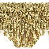 Posamentenborte Breite 35 mm / Meterware Farbe Gold / Dekoborte Bordüre Borte mit Posamenten Fransen Brokat Spitze Bordüre Antik Jugendstil Barock