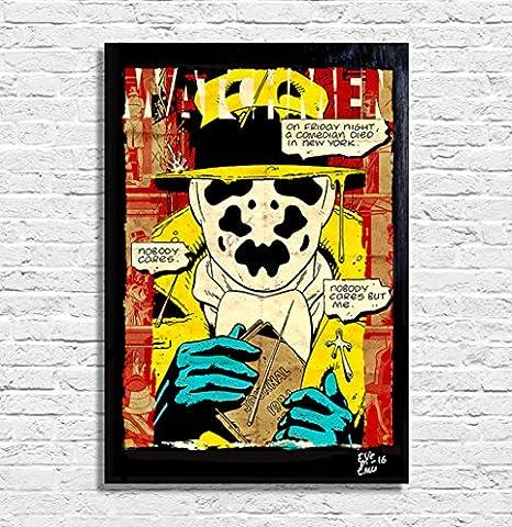 Watchmen Rorschach - Illustration originale encadrée, peinture, presse artistique, poster, toile imprimée, art contemporain, image sur toile, affiche d'art, bandes dessinées