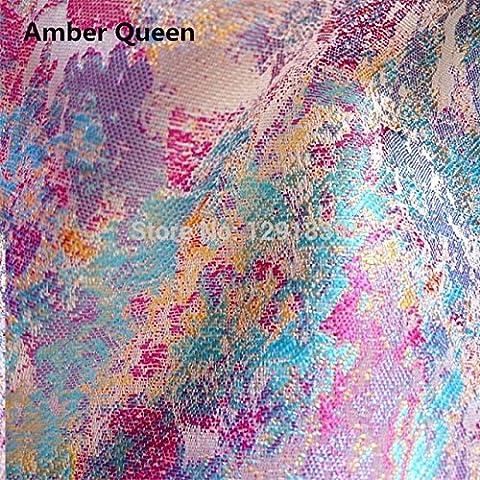 Nuevo de alta calidad importados jacquard tela del paño helado de color brocado de alto grado Escudo de oro y plata vestido de seda Telas 90 * 100cm / pc