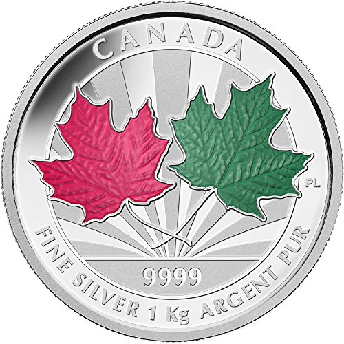 Power Coin Maple Leaf Forever 1 Kg Kilo Red Green Enamel Fine Silber Kilogram Münze 250$ Canada 2014 -