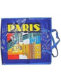 SAC SHOPPING CABAS PARIS BLEU SAC DE COURSE PLAGE 55 X 51 CM
