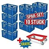 Spar-Set: 10x Stapelkorb, Euro-Format 600 x 400 x 320 mm, Industriequalität, lebensmittelecht, blau + GRATIS Transportroller