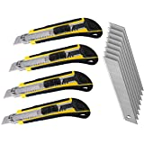 LEDLUX 4 Kit Taglierino Professionale 18mm,Cutter Taglierino Per Carta, 8 Lame di Ricambio Per Cutter