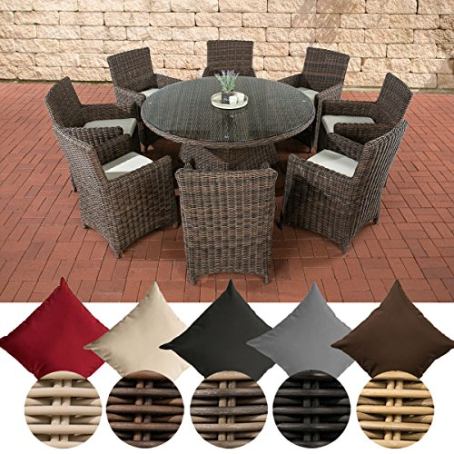 CLP Gartengarnitur LARINO XL   Gartenmöbel-Set aus Polyrattan und mit Aluminium-Gestell erhältlich Bezugfarbe: Cremeweiß, Rattanfarbe: Braun-meliert