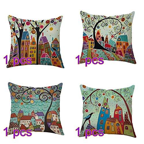 Bigboba stile vintage dipinto ad olio federe cuscini divano alberi e fiori tridimensionali motivo di lino di cotone divano letto home bed decor 45 * 45cm (style-1)