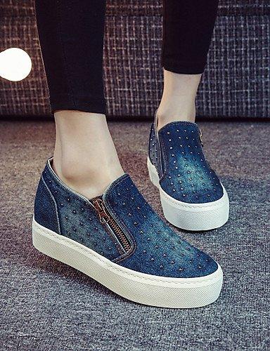 ZQ gyht Damenschuhe - Halbschuhe / Slippers - Outddor / L?ssig - Denim Jeans - Plateau - Plateau / Creepers / Komfort / Rundeschuh -Schwarz / dark blue-us5.5 / eu36 / uk3.5 / cn35