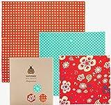 SuperBee Emballages de Cire d'abeille   Ensemble de 3: Petit, Moyen et Grand   Commerce Éthique, Emballage Alimentaire Réutilisable et Écologique   Flower Power