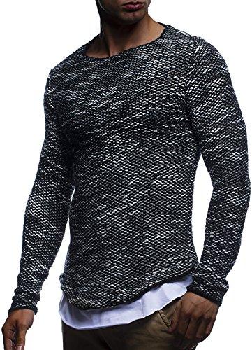 LEIF NELSON Herren Pullover Strickpullover Hoodie Basic Rundhals Crew Neck Sweatshirt langarm Sweater Feinstrick LN20733; Gr_¤e M, Schwarz