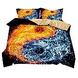 Stillshine Bettwäsche Set Yin und Yang Klatschfigur Flamme Bettbezug und Kissenbezug 100% Polyesterfaser Bettwäsche mit Verdecktem Reißverschluss (Wasser und Feuer klatsch, 220x260cm)