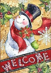 Toland Home Garden Candy Cane Pupazzo di neve giardino Bandiera, tessuto, Multicolor, 31.75x45.72x0.1 cm