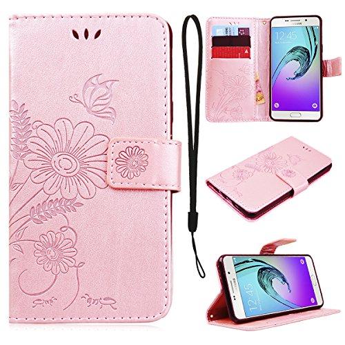 CE-Link Cover Samsung Galaxy A5 2016 Wallet Card Holder Protective Retro Funzione Stand Fiore e Farfalla, Flip Porta Carte Libro in Pelle e Protettiva - Rose Gold