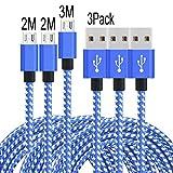 PeziMu Micro USB Kabel,[3-pack] (2M.2M.3M), Micro USB Kabel, High Speed Schnell Laden USB 2.0 Männer Micro USB Kabel Für Android /Samsung /Windows /MP3 /Kamera Und Mehr (Blau Weiß)