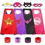 Sinoeem Capa de Superhéroe para Niños - 4 Capas y 4 Máscaras y 4 Slap Pulseras - Ideas Kit de Valor de Cosplay de Diseño de F