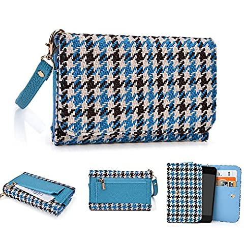 Kroo Clutch Wristlet Wallet Fall für Blackberry? Torch 9810 mehrfarbig Blue Houndstooth and Blue