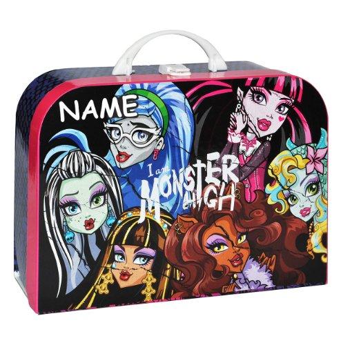 Unbekannt Kinderkoffer Monster High - mit Namen - Groß - Puppenkoffer Koffer Reisekoffer aus Pappe Mädchen Puppe pink Gothik Puppen