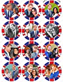 12 x PRE-CUT Prince Harry Meghan Markle Royal Wedding Edible Cake Toppers from Toppershack PRE-CUT