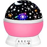 مصابيح إضاءة ليد ليلية رومانسية على شكل سماء وقمر ونجوم تدور، جهاز عرض ليلي دوار، مصباح إضاءة، لون وردي