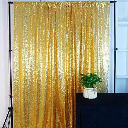 (HeMiaor Paillettenvorhänge, ca. 61 x 2,4 m, Gold, 10x10ft)