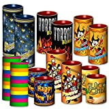Tischfeuerwerk 14-tlg. - Tischbomben & Luftschlangen mit Überraschungsfüllung - Silvester Feuerwerk Party Bag Karneval Fasching Geburtstag