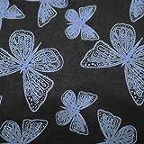 100% Baumwolle Schmetterling Schwarz Indische Dekorative 38 Breit Meterware Gedruckt