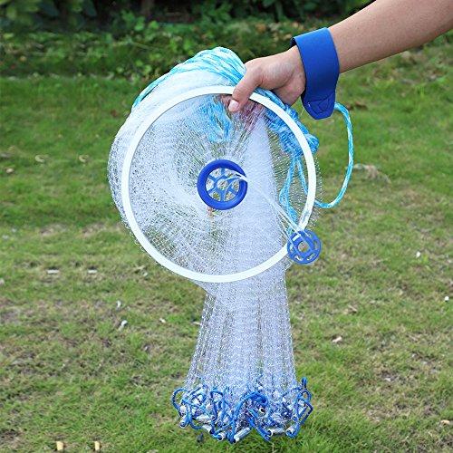 AYNEFY Fischernetz,Angeln Mesh Net Outdoor-Fischernetz Nylon mit Durchmesser Handschlaufe und Ring Outdoor Erweiterbar Angelnetz Nylon Gaze Netz Tragbares Falt Fangnetz (2.4m)