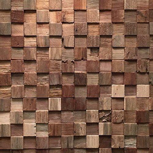 Holzverblender UltraWood Teak Square 3D Wood Panel kein FSC !