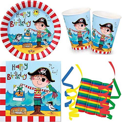 JT-Lizenzen Frecher Pirat 39-teiliges Kinder Geburtstag Party Deko Set Motto Fete Feier 8 Teller, 8 Becher, 20 Servietten, 3 Rollen Luftschlangen