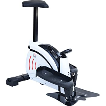 Homcom Máquina de Step Stepper Resistencia Ajustable Mini Bicicleta Elíptica Pantalla LCD con Asiento Carga 110kg