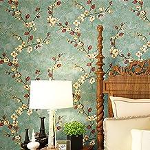 reyqing Non Woven papel pintado, estilo americano, estilo rústico, Vintage, color verde, ratán flor papel pintado, dormitorio sala de estar, fondo pared, AB edition, Wallpaper only, Beige 2001 B