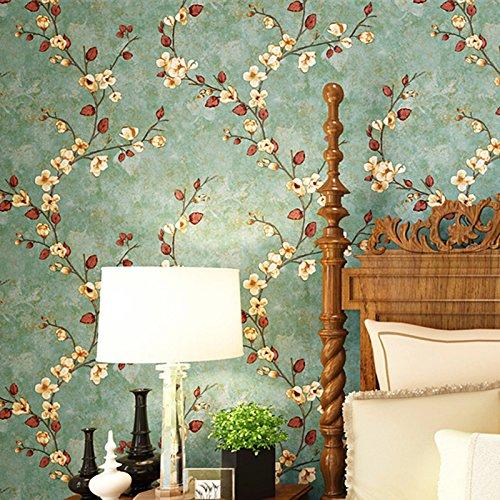 reyqing nicht-gewebte Tapete, American Style, ländlichen Stil, Retro grün, Rattan Blume Tapete, Schlafzimmer Wohnzimmer, Hintergrund Wand, ab Edition, Wallpaper only, Beige 2001 B