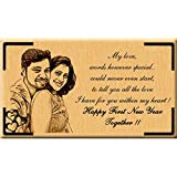Incredible Gifts India Happy New Year Gift Ideas- Wooden Photo Engraved(7X4 In)