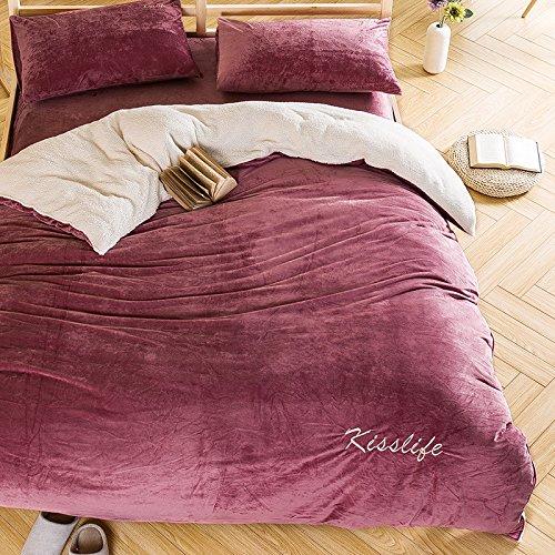 BB.er Farbe Weiche gepolsterte warme Bettwäsche 4-teilig Doppelbett Textil, Cameo, 200 * 230 cm -