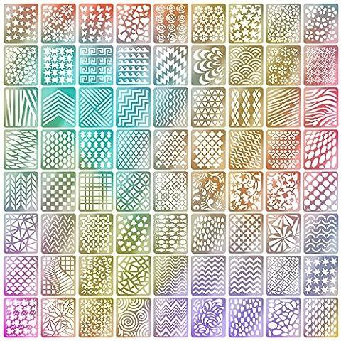 Mudder 144 Stücke Nagel Vinyl Schablonen Aufkleber Set, 24 Blätter 72 Verschiedenes Design Nette Einfache Nagelkunst Nagel Vinyl Nagel Schablonen Blätter