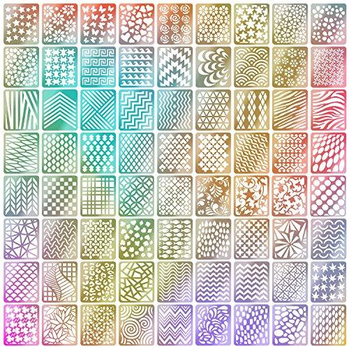 Gewölbten Blättern (144 Stücke Nagel Vinyl Schablonen Aufkleber Set, 24 Blätter 72 Verschiedenes Design Nette Einfache Nagelkunst Nagel Vinyl Nagel Schablonen Blätter)