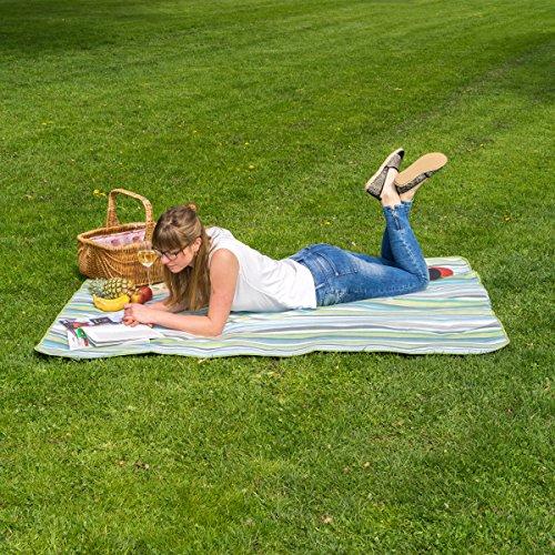 Picknickdecke 175 x 135 cm / Wasserdicht & Wärmeisoliert / Gepolstert mit flauschigem Fleece / Faltbar mit Tragegriff / Strandmatte / Stranddecke / Campingdecke