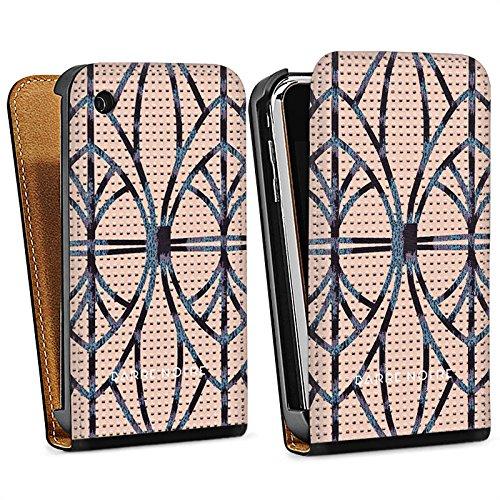 Apple iPhone 5 Housse étui coque protection Look cuir Leo BARRE NOIRE Sac Downflip noir