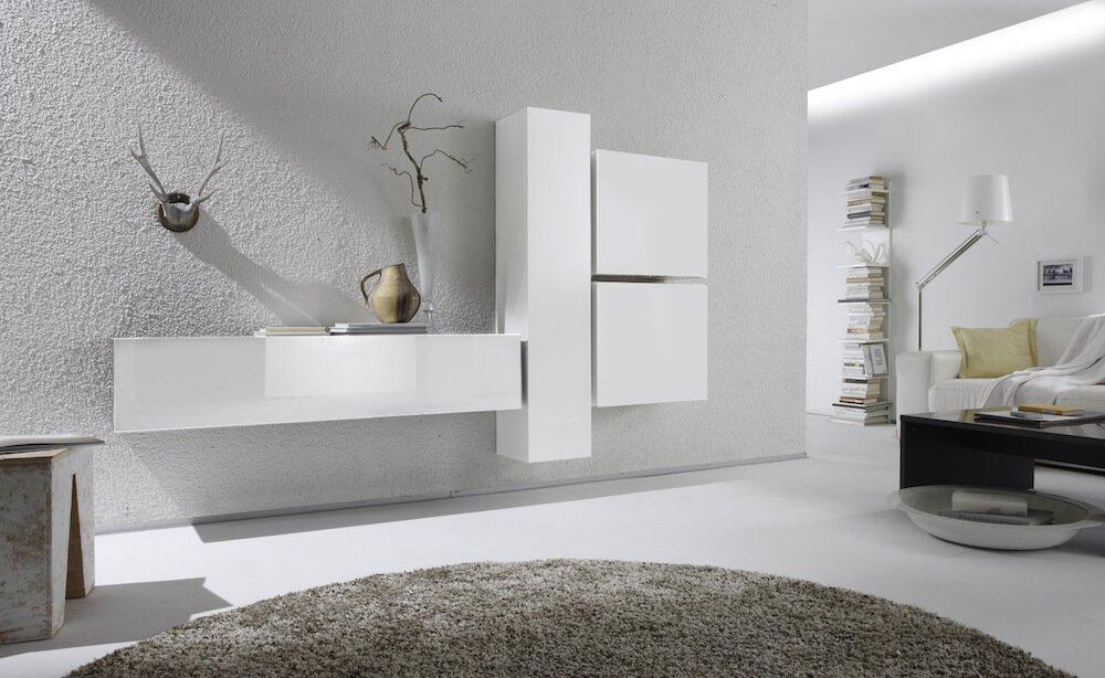 Parete design attrezzata contemporanea per soggiorno moderno.
