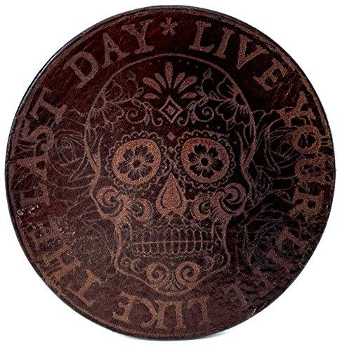 """""""Live your life"""" Mexican Sugar SKULL glossy, Braun, Untersetzer handgearbeitet für Bier, Long Drinks, Whisky, Weinglas, Glas aus 100% echtem Vintage Leder, Kreisdurchmesser ist 11cm"""