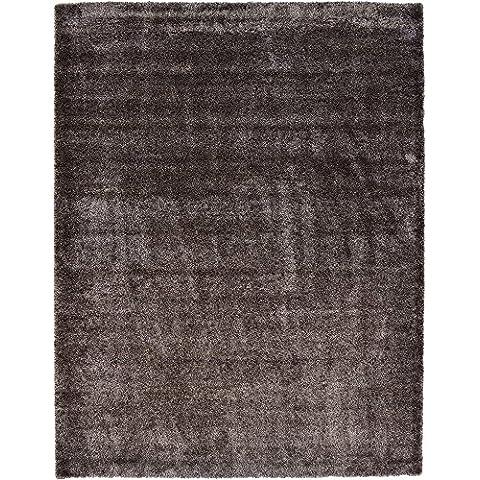 Moderno sólido peluche Luxe solo Contemporáneo área alfombra, Pinecone Brown, 12 x 16